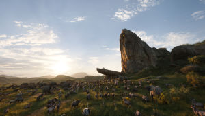 Bild från den datoranimerade filmen Lejonkungen. Bild föreställande Lejonriket på den afrikanska savannen.
