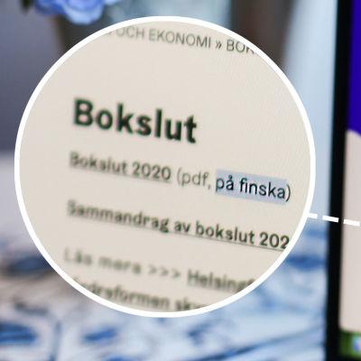 I förgrunden syns Helsingfors stads hemsida där man kan läsa bokslut, endast på finska. I bakgrunden syns en suddig vas med blommor.