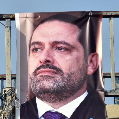 Affisch med Libanons premiärminister Saad Hariri.