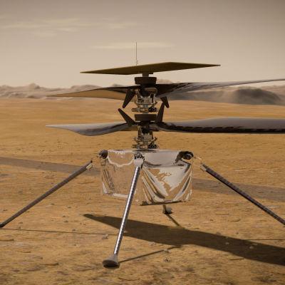 En illustration av minihelikoptern Ingenuity som placerades på planeten Mars den 4 april 2021.