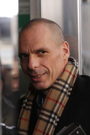 Greklands finansminister Yanis Varoufakis på eurogruppens möte i Bryssel