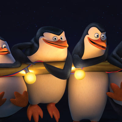 Fyra animerade pingviner.