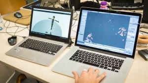 """Kurkistus Mo-cap-tekniikkaa hyödyntäneen Team Mates-ryhmän """"Soidintanssi"""" -työnimellä kulkevan projektin hahmografiikkaan."""