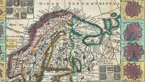 Skandinavian kartta, piirtänyt Daniel de la Feuille vuonna 1706
