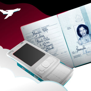 Kuvassa näkyy Nokian puhelin N96 ja bulvaanin passi