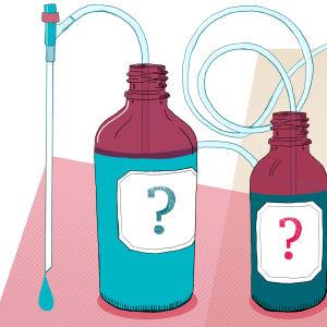 Kuvituskuva: lääkepulloja, joiden sisältö on epäselvä.