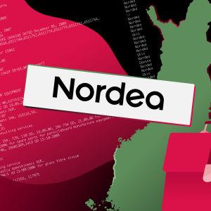 Kuvitus Suomen kartasta ja Nordeasta.