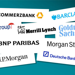 Kollaasi jutun pankkien logoista: Barclays, BNP Paribas, Citigroup, Commerzbank, Deutsche Bank, Goldman Sachs, JPMorgan, Merrill Lynch,  Morgan Stanley.