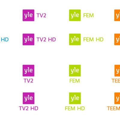 Yles tv-kanallogotyper i färg