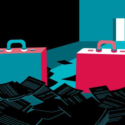Kuvituskuva kahdesta salkusta, joiden ympärillä lojuu asiakirjoja