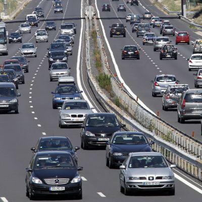 Trängsel på vägarna under semesterperioden i Frankrike