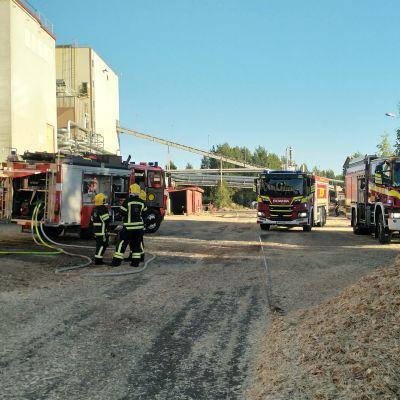 palomiehiä Suolahden vaneritehtaalla