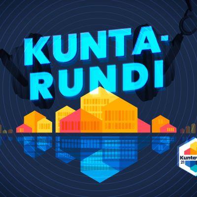 Kuntarundi-teksti kuntavaalien grafiikalla.
