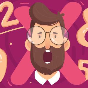 Kertotaulutestin pääkuvassa pinkillä pohjalla piirretty mies suu auki.