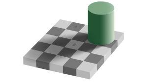 optinen illuusio jossa harmaat ruudut näyttävät erivärisiltä