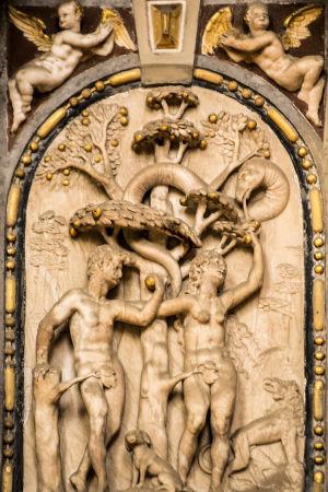 Aatami ja Eeva, Tuntematon tekijä 1400-luvulta, Stralsundin Pyhän Nikolauksen kirkko, Stralsund, Saksa