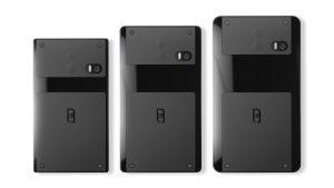Havainnekuva kolmesta erikokoisesta Puzzlephone-älypuhelimesta