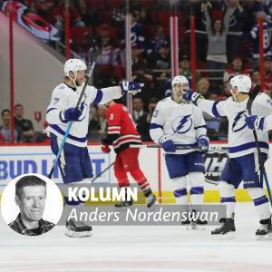 Tampa Bay-spelare jublar på isen