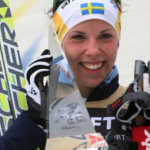 Charlotte Kalla efter Tour de Ski 2008.