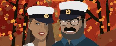 Grafisk bild av två personer med studentmössa