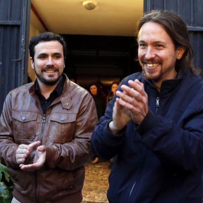 IU:n ja Podemosin johtajat Alberto Garzón ja Pablo Iglesias