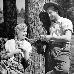 Sirkka Hirvonen ja Helge Herala Tukkijoella-elokuvassa (1951)