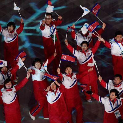 Pohjois-Korean urheilijoita Pyeongchangin talviolympialaisten avajaisissa.