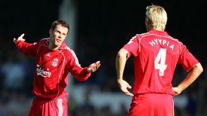Jamie Carragher och Sami Hyypiä, Liverpool 2007.