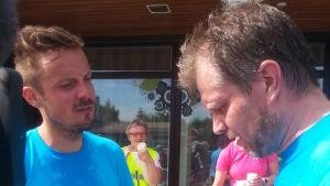 Mitt triathlons Jontti Granbacka och Marcus Långs har sina sträckor avklarade