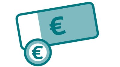 Taloudellisen vastuun kuvituskuva, seteleitä ja kolikoita