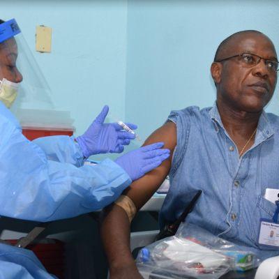 Arkivbild från 3 februari 2015 där läkaren Francis Kateh frivilligt deltar som testperson av ebolavaccinet.