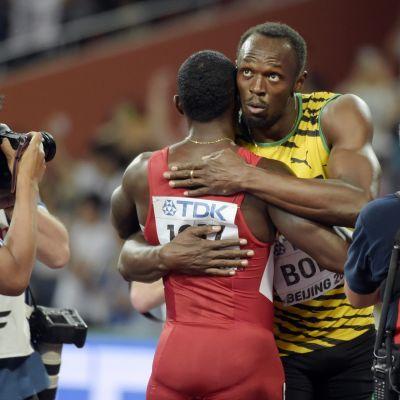 Justin Gatlin och Usain Bolt, VM i Peking 2015.
