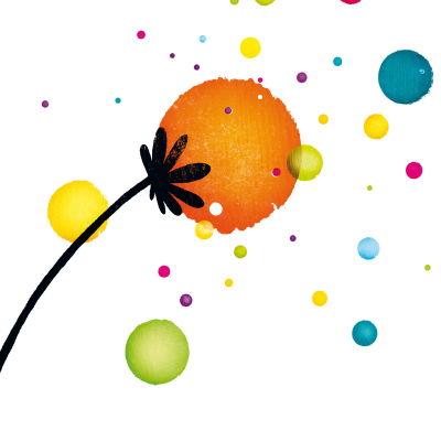 Färgranna bollar i form av blommor symboliserar Åbos kulturhuvudstadsår 2011.
