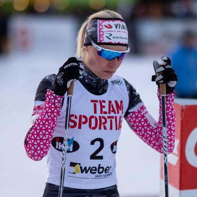 Anne Kyllönen på startstrecket.