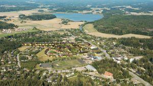 Luftbild visar framtidens kommuncentrum i Sjundeå med det nya området som Asuntosäätiö planerar och förverkligar.