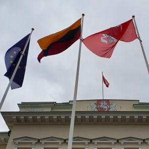 EUs, Litauens, Vilnius och Natos flaggor vajar utanför presidentpalatset i Vilnius