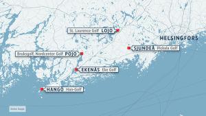 En karta som visar var sex golfbanor finns i Västnyland.