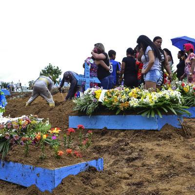 Begravning av offer för fängelseupploppet i Manaus, Brasilien. 4.1.2017