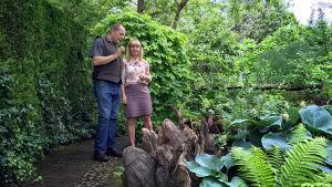 Mies ja nainen seisovat vehreän puutarhan keskellä.
