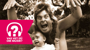 Ozzy Osbourne med dottern Aimee 1984 på semester i Frankrike och Musiktestets logo