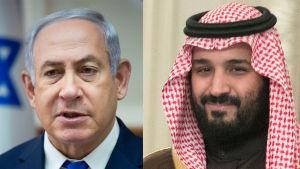 Två fotografier. Benjamin Netanyahu och kronprins Mohammad bin Salmad
