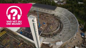 Olympiastadion från luften samt muisktestets logo