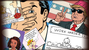 kollage med tecknade satir bilder och seriebilder