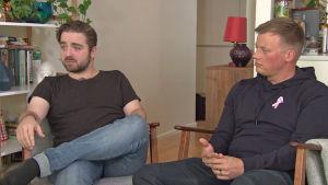 Ted Forsström och Kaj Korkea-Aho i Yle Fems litteraturfest
