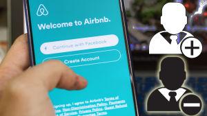 Kollage med svart figur och minustecken samt vit figur med plustecken invid Airbnb på mobiltelefon