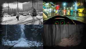Kollage med fyra dystra vintervyer i stad och landsbygd