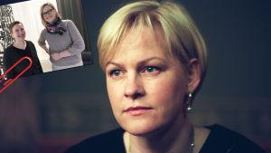 Gammal bild på Eva Biaudet samt i hörnet med pappersklämma bild på hnne med Paula Salovaara 2018.