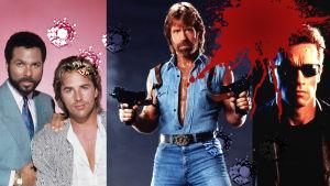 Kollage med actionhjältar från 80-90-talet.