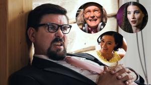 Humorkaraktären Svante Mattbäck i serien Stjärnorna på Knipan med tre mindre bollar med kvinnliga kraktärer. Skådespelare: Håkan Omars