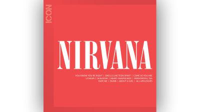 Nirvana Icon konvolut med bandets namn och låtar i vitt mot röd bakgrund.